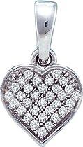 0.10ctw Diamond Heart Pendant 10K White Gold 32 Diamonds