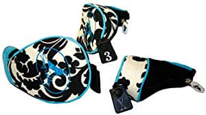 Sassy Caddy Ladies Set of Classy Golf Club Headcovers, Turquoise Black White by Sassy