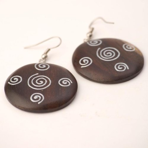 Brown 35 mm silver spiral earrings coco wood wooden