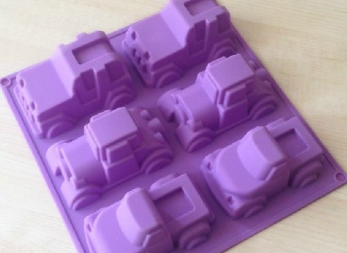 Allforhome 6 Truck Jeep Car Shape Silicone Cake Baking Mold Cake Pan Muffin Cups Handmade Soap Moulds Biscuit Chocolate Ice Cube Tray DIY Mold