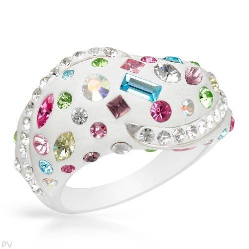 Ring With Genuine Crystals Well Made in White Enamel and 925 Sterling silver. Total item weight 6.8g (Size 6)
