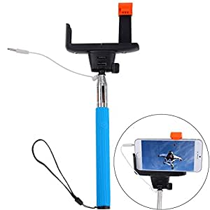 5ive Extendable Cable Control Self-portrait (No Bluetooth Matching and Charging Free) Monopod Selfie Handheld Stick Pole with Mount Holder Specially Designed for iPhone 6 6plus 5s 5c 5 4s 4 Samsung Galaxy S5 ,S4, S2, Note 2, Note 3 and Other Smartphone to Take Photos or Video (Blue with Cable)