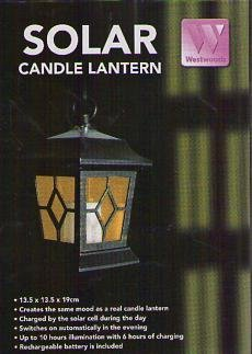 Westwoods Solar Candle Lantern 13.5Cm X 13.5Cm X 19Cm Colour May Vary back-32460