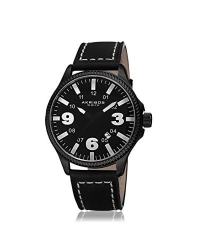 Akribos XXIV Men's AK833WT Black Leather Watch