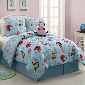 4 Pc Reversible Pink Blue Red Purple Girls Flower Dot Bed In Bag Comforter Set front-1001825