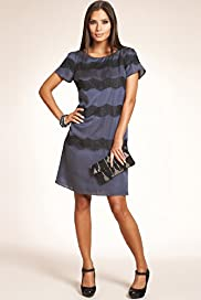 Short Sleeve Lace Stripe Satin Dress