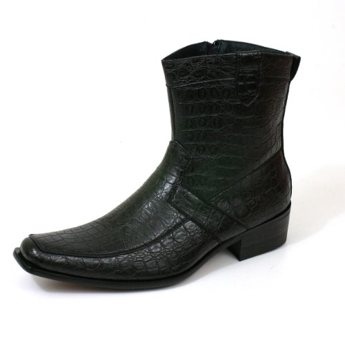 Men Dress Boots Faux Crocodile Alligator Upper with Zipper Pull On Genuine Leather Lining Dressy- Runs Big Order 1 Full Size Smaller