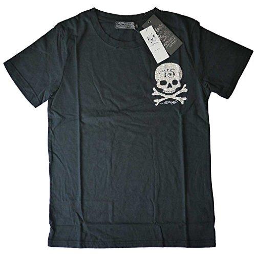L エドハーディー Tシャツ メンズ 13スカル スワロフスキー 半袖t 黒 ブラック EDHARDY 5328