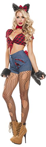 Starline Women's Sexy Hungry Werewolf 6 Piece Costume Set, Red/Blue, Large (Sexy Werewolf Costume)