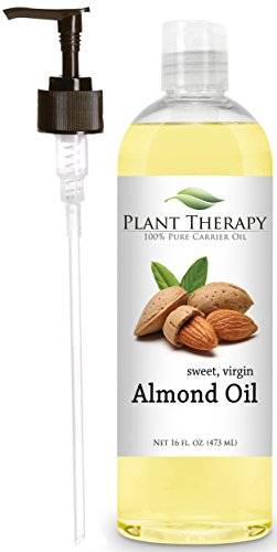 Sweet Almond Oil + PUMP. A Base and Carrier Oil for Aromatherapy, Essential Oil or Massage Use.