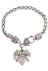 MFixc Mom Clear Crystals Fashion Lobster Claw Heart Bracelet