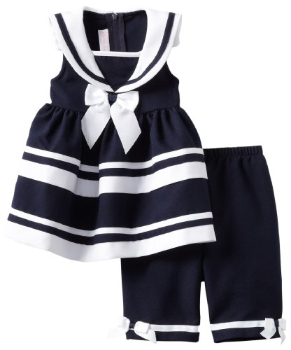 Bonnie Baby Girls Infant Navy Nautical Dress, Blue, 12 Months front-851142