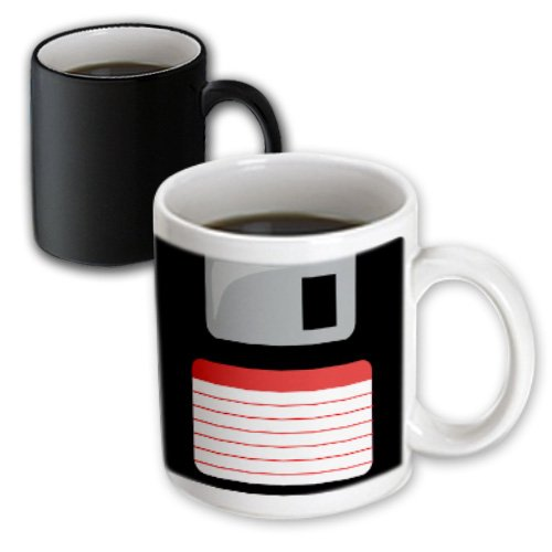 3dRose mug_57457_3 Retro 90's Computer Black Floppy Disk Graphic Design with Red Label 1990's Computer Tech Magic Transforming Mug, 11-Ounce, Black/White