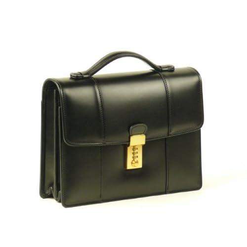 【日本製】本革ロックミニ<スムース革>(黒) 高級ヘリ返し仕様 ダイヤル錠 持ち手付きセカンドバッグ