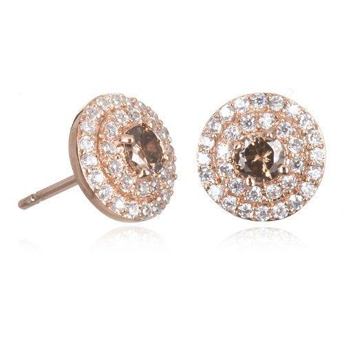 Brown and White CZ Stud Earring