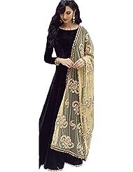 Clickedia Women Silk Long Black & Beige Salwaar Suit With Embroidered Dupatta - Dress Material