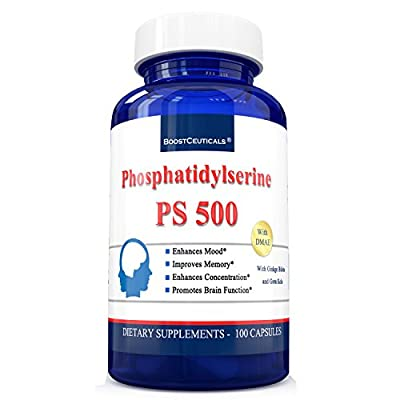 Boostceuticals Phosphatidyl Serine 100mg 100 Capsules Unique PS 500mg Phosphatidylserine Complex