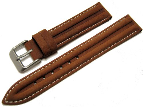 Genuine Leather Water Resistant Watch Strap Band Tan 18mm