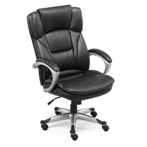 Omega Big and Tall Leather Executive Chair Black Leather with Titanium Finish