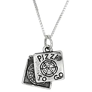 Sterling Silver One Sided Pizza Box to Go Necklace (16 Inches)