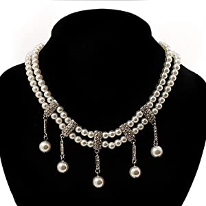 2 Strand Synthetic Pearl Bridal Diamante Choker Necklace (Silver Tone)