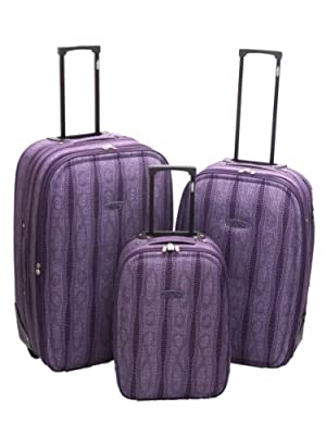 Purple Snake Print Luggage Suitcase - 3Pc Set