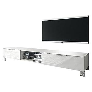 Lc mobili meuble tv margherita iii blanc brillant 180 for Kikua meuble tv 130 cm blanc brillant