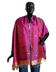 Magenta Pure Silk Stole with All over Boota, Zari Border - Silk