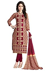 Salwar Studio Women's Wine & Beige Cotton Floral, Paisley Embroidered Dress Material with Dupatta