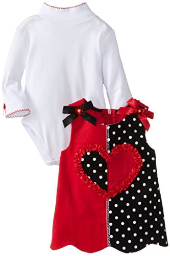 Bonnie Baby Baby-Girls Newborn Colorblock Corduroy Heart Jumper, Red, 3-6 Months front-1021552