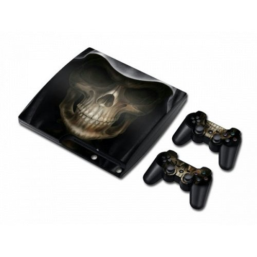 PS3 Slim Vinyl Skin Sticker Decal Hooded Death Skull Reaper & 2 Controller Skins sex babe vinyl decal skin sticker for xbox360 slim with 2 controller skins