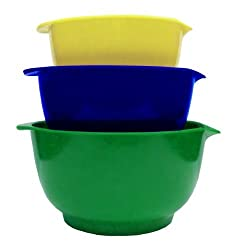 GHP 3-Piece Melamine Mixing Bowl Set with Non-Skid Silicone Bottoms, Yellow/Blue/Green