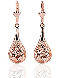 ISweven Fashion Jewelry Plant Design Hollow 18 K Rose Gold Plated Latest Luxury Rose Gold Hoop Earring For Girls...