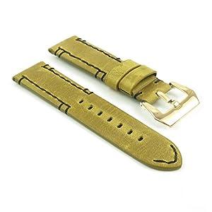 DASSARI Vagabond Hand Stitched Vintage Leather Watch Band Strap w/ PVD Yellow Gold Buckle fits PANERAI