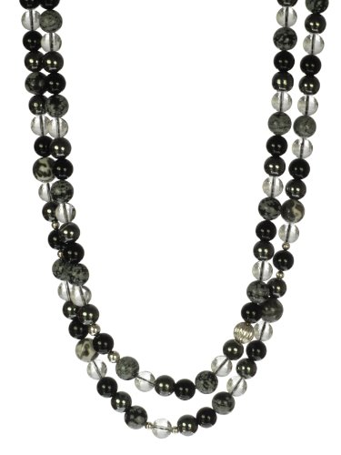 2 Row Hematite, Jasper, Crystal and Sterling Silver Bead and Fancy Hook Clasp Necklace, 19