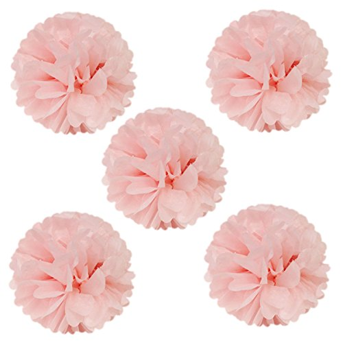 "Wrapables 8"" Set of 5 Tissue Pom Poms Party Decorations for Weddings, Birthday Parties Baby Showers and Nursery Décor, Light Pink"