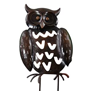 east2eden Dark Metal Owl Hanging Wall Art Flower Bed Standing Garden Ornament in 2 Deals