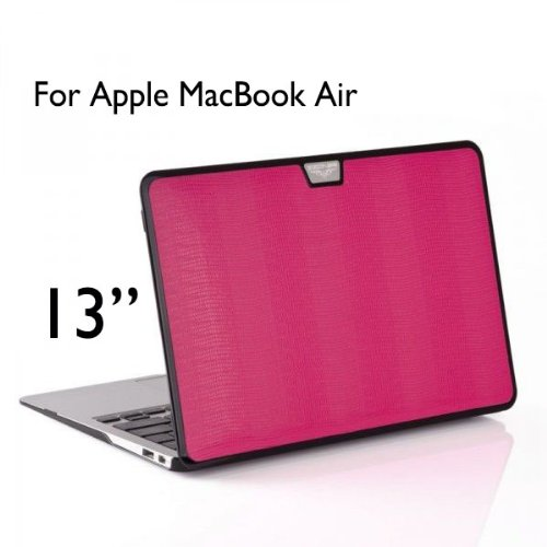 Best  Uelesy(R) AIR 13-inch Hot Pink 3 in 1 Fluorescent Cloth Style Hard Cover Case For Apple MacBook Air 13 inch 13.3