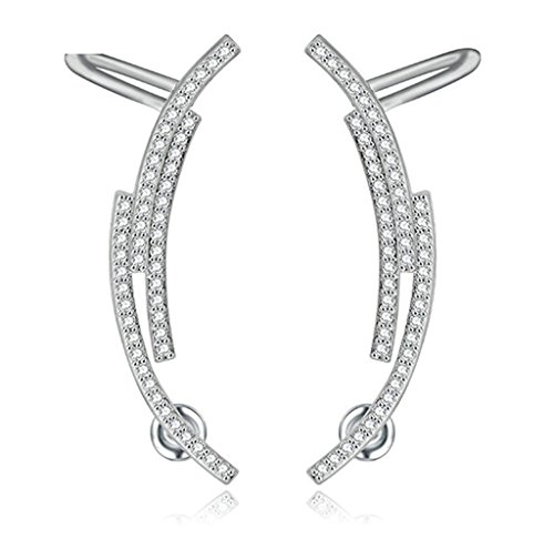 KnSam Donne Placcato Platino Trafitto Ear Cuff Ordito Cartilage Trago Arc Line Crystal Sterling Silver Pin