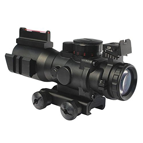 Lukher Tactical Rifle Scope 4x32 Red/Green/Blue Triple Illuminated Rapid Range Reticle Scope With Top Fiber Optic Sight and Weaver Slots