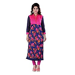 Fashion Galleria pink rose printed cotton kurti