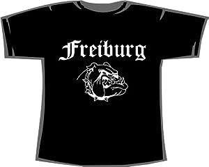 Freiburg (mit Bulldogge); Städte T-Shirt schwarz