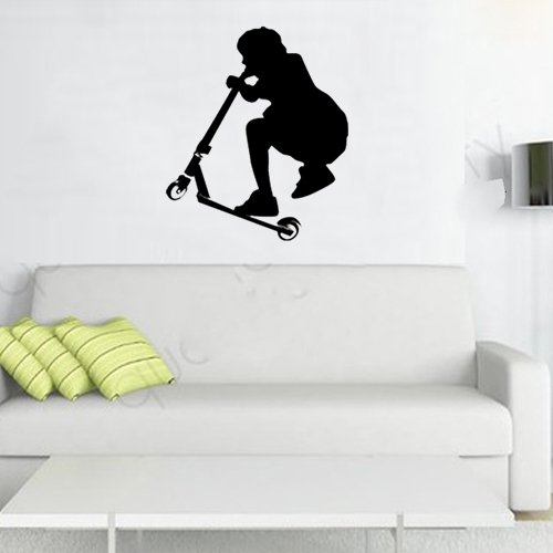 """Colorfulhall 21.65"""" X 25.59"""" Kids Room Decor Scooter Teenagers Wall Art Decals Sticker Removable Diy Vinyl Sports Wall Stickers front-366690"""