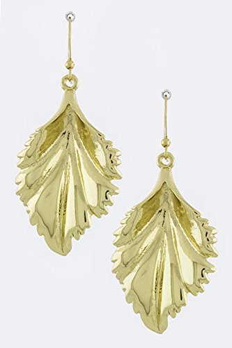 [BAUBLES & CO CARVED LEAF DANGLE EARRINGS] (Laurel And Hardy Costumes Online)