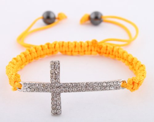 Dark Yellow Lace Style Iced Out Cross Bracelet with Beaded Disco Balls Macrame Shamballah