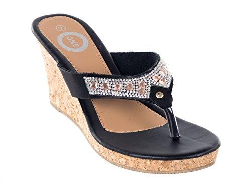 ONE Women Black Thong Studded Wedge Slip-On Sandals, 10