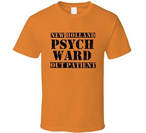 New Holland Pennsylvania Psych Ward Funny Halloween City Costume T Shirt 2XL Orange (Holland Costume City)