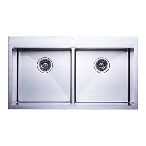 "BAI 1236 - 36"" Handmade Stainless Steel Kitchen Sink Double Bowl Top Mount 16 Gauge"