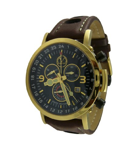 Culinary Chef Watch in Gold Tone with Leather Strap