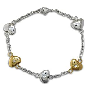 Ladies 8 Inch Stainless Steel and Gold Heart Chain Bracelet